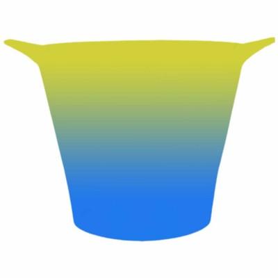 Balde de Gelo Bicolor Amarelo e Azul