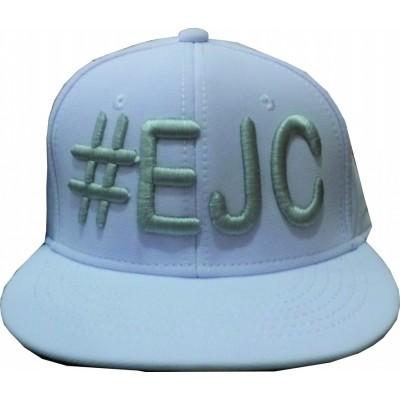 Boné  #EJC  Branco Com Bordado Cinza - Aba Reta