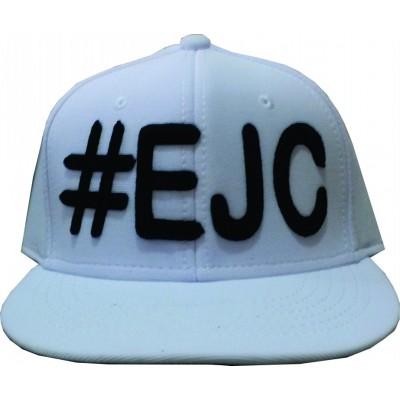 Boné  #EJC Branco Com Bordado Preto - Aba Reta