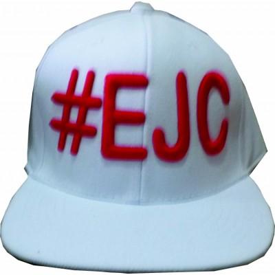 Boné  #EJC Branco Com Bordado Vermelho - Aba Reta