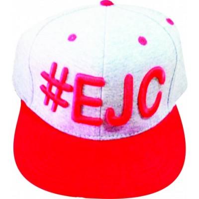 Boné  #EJC  Cinza Com Aba Reta - Vermelho
