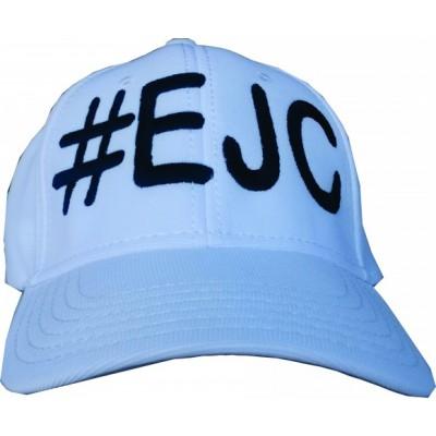 Boné  #EJC  Branco Com Bordado Preto - Aba Curva