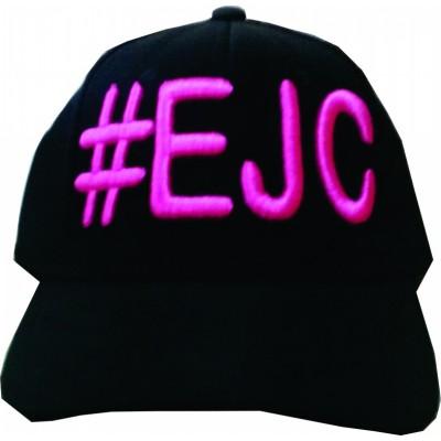 Boné  #EJC  Preto Com Bordado Rosa - Aba Curva