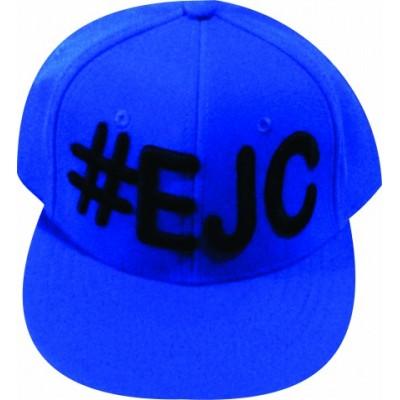 Boné  #EJC  Azul Royal Com Bordado Preto - Aba Reta