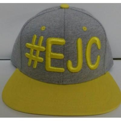 Boné #EJC Cinza Com Aba Reta - Amarela