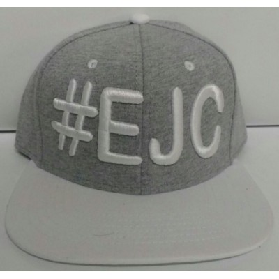 Boné  #EJC  Cinza Com Aba Reta - Branco
