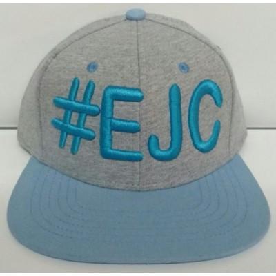 Boné  #EJC  Cinza Com Aba Reta - Azul Claro