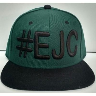 Boné  #EJC  Verde Escuro Com Aba Reta - Preta