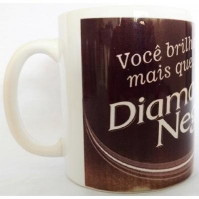 Caneca de Porcelana Diamante Negro