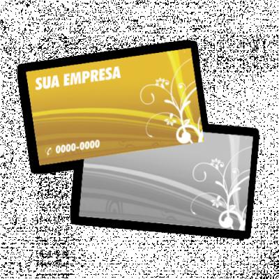 Cartão de Visita 4x1, 500 unidades, Verniz Total na Frente.