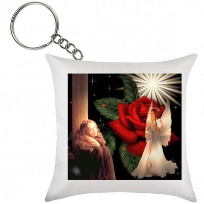 Chaveiro de Almofada Anjo Com Rosa