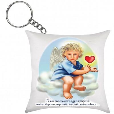 Chaveiro de Almofada Anjo da Guarda Coração