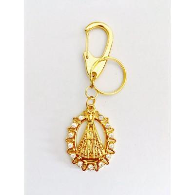 Chaveiro Dourado com strass Nossa Senhora Aparecida