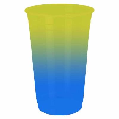 Copo Descartável Jateado Bicolor Amarelo x Azul, 300 ml.