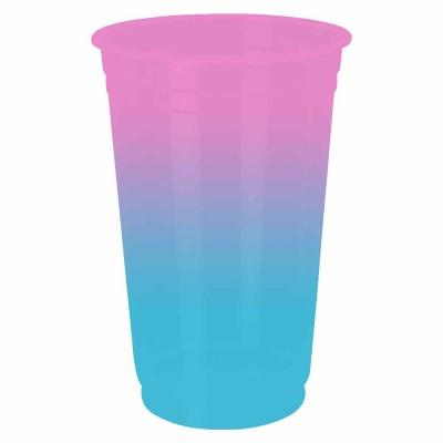 Copo Descartável Jateado Bicolor Rosa x Azul Tifany, 300 ml.