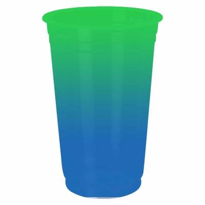 Copo Descartável Jateado Bicolor Verde x Azul, 300 ml.