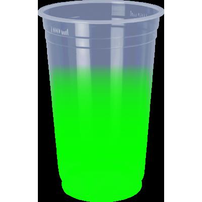 Copo Descartável Jateado Verde, 300 ml.