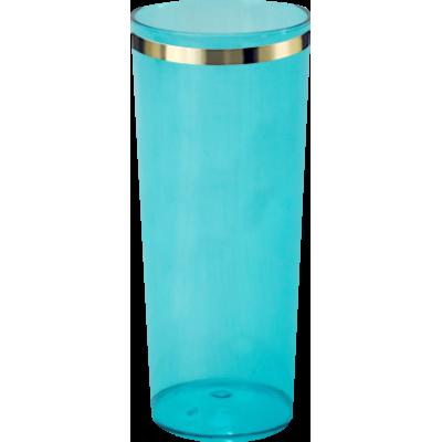 Copo Long Drink com Borda Azul Tiffany Translúcido