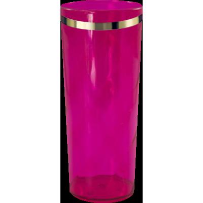 Copo Long Drink com Borda Rosa Translúcido