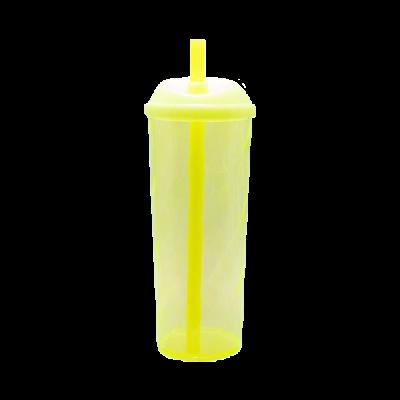 Copo Long Drink com Tampa e Canudo Amarelo Neon