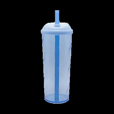 Copo Long Drink com Tampa e Canudo Azul Neon