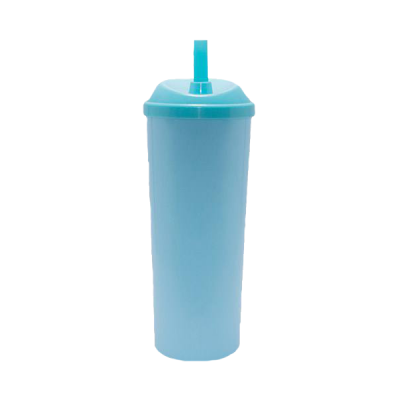 Copo Long Drink com Tampa e Canudo Azul Tiffany