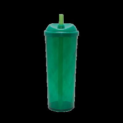 Copo Long Drink com Tampa e Canudo Verde Escuro