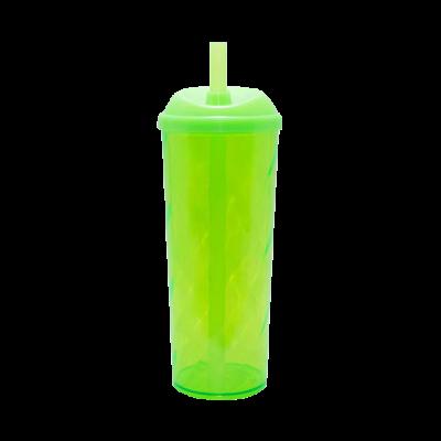 Copo Long Drink com Tampa e Canudo Verde Neon
