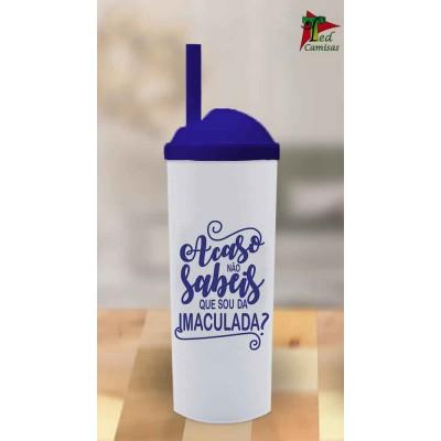 Copo Long Drink Acaso Não Sabeis - Branco com Tampa Azul