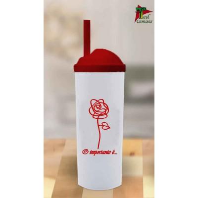 Copo Long Drink O importante é a Rosa -  Branco com Vermelho