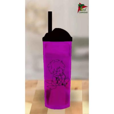 Copo Long Drink Pequeno Príncipe - Lilas Translucido com Preto