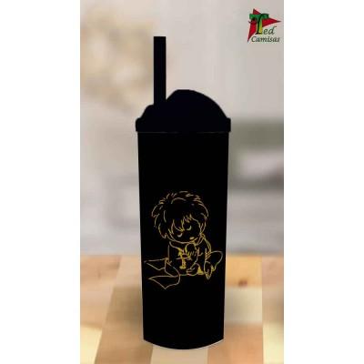 Copo Long Drink Pequeno Príncipe - Preto com Dourado