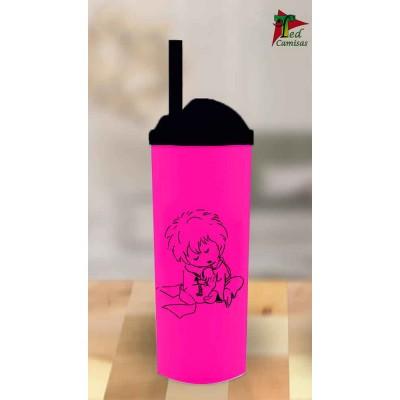 Copo Long Drink Pequeno Príncipe - Rosa com Preto
