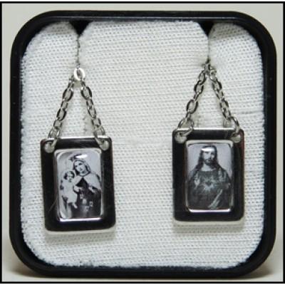 Escapulário N. S. Carmo e Coração de Jesus Preto e Branco