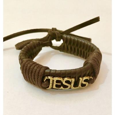 Pulseira Jesus Trançada Marron