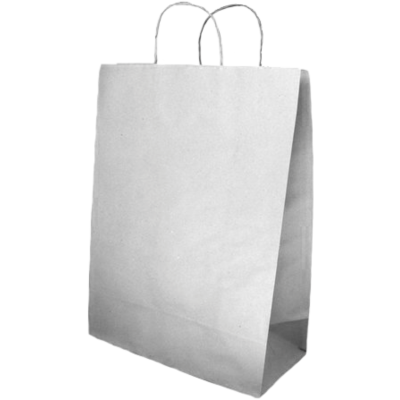 Sacola Kraft  branca com alça retorcida, 14x08x15.