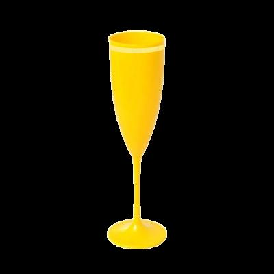 Taça de Champanhe Amarela com Borda