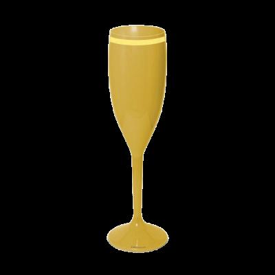 Taça de Champanhe Dourada com Borda