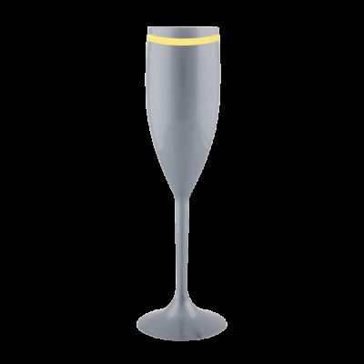 Taça de Champanhe Prata com Borda