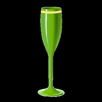Taça de Champanhe Verde Neon com Borda