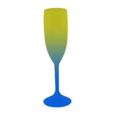 Taça de Champanhe Bicolor Amarelo e Azul