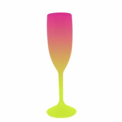 Taça de Champanhe Bicolor Rosa e Amarelo