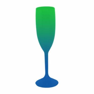 Taça de Champanhe Bicolor Verde e Azul