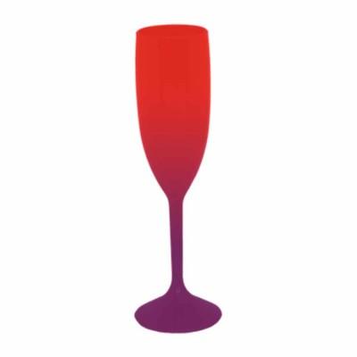 Taça de Champanhe Bicolor Vermelho e Roxo