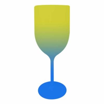 Taça de Vinho Bicolor Amarelo e Azul