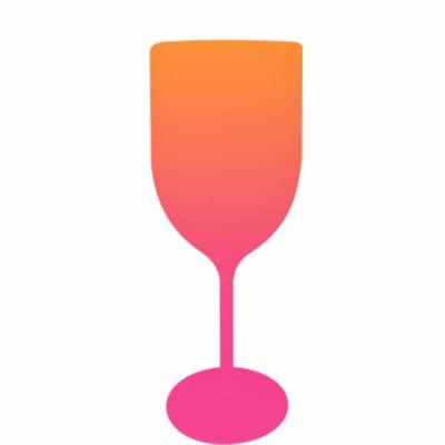 Taça de Vinho Bicolor Laranja e Rosa