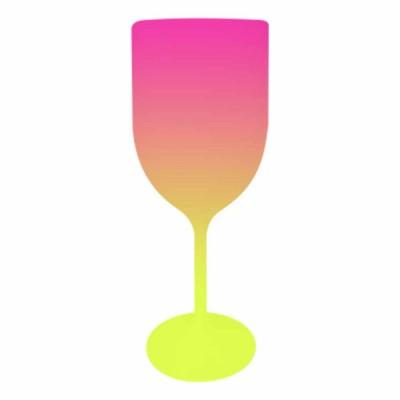 Taça de Vinho Bicolor Rosa e Amarelo