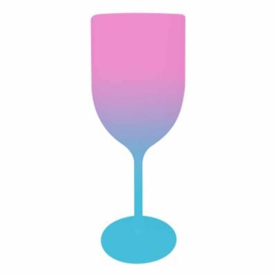 Taça de Vinho Bicolor Rosa e Azul Tiffany