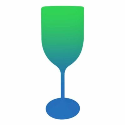 Taça de Vinho Bicolor Verde e Azul